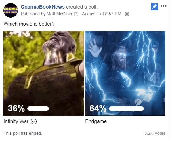 Avengers: Endgame Infinity War poll