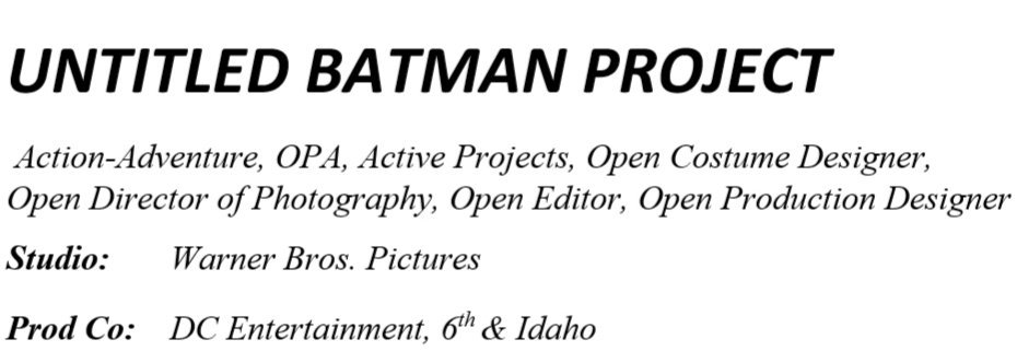 The Batman Production Sheet
