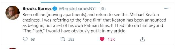 Michael Keaton Batman tweet NY Times