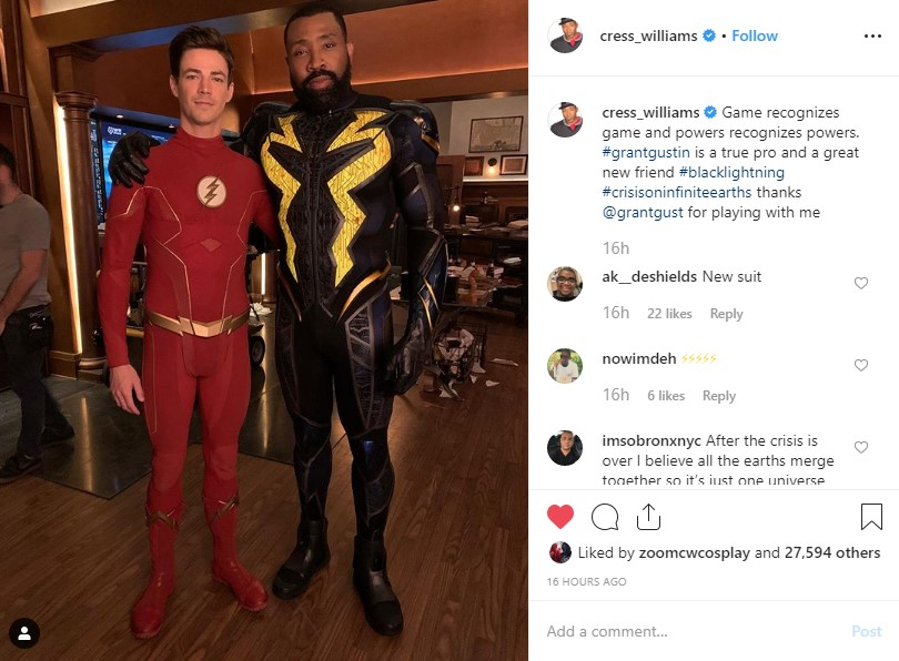 Crisis On Infinite Earths Cress Williams Black Lightning Grant Gustin The Flash