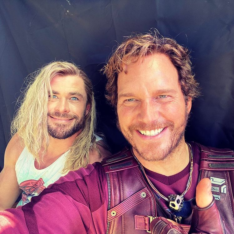 Chris Pratt and Chris Hemsworth Thor Love and Thunder
