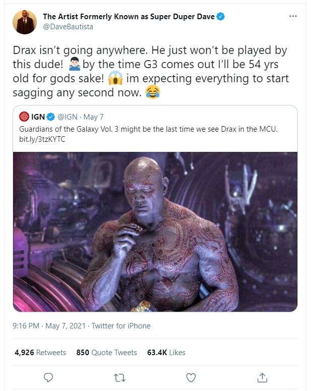 Dave Bautista Drax tweet Marvel
