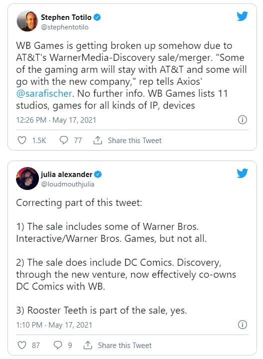 DC Comics WB Games sold ATT Discovery
