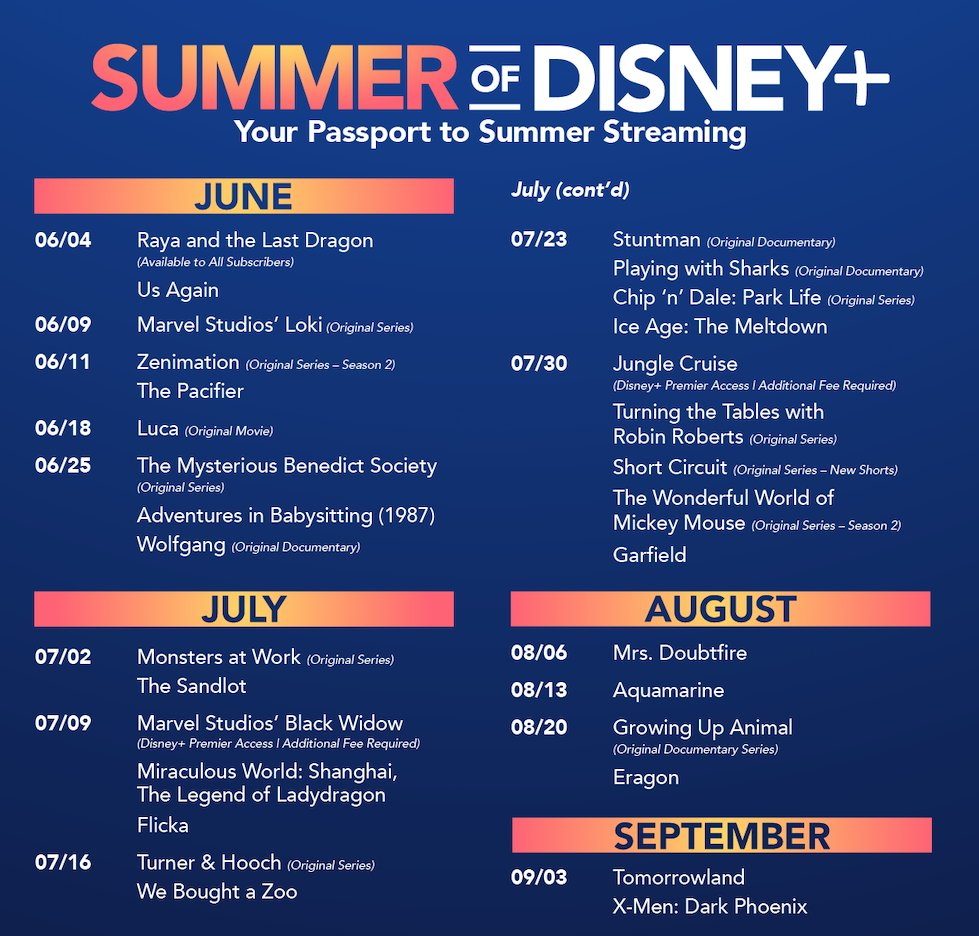 Disney Plus Summer release date schedule 2021