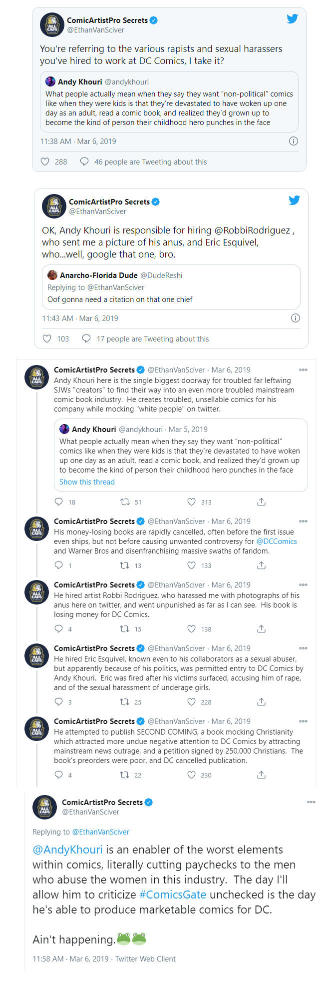 Ethan Van Sciver Andy Khouri tweets DC Comics