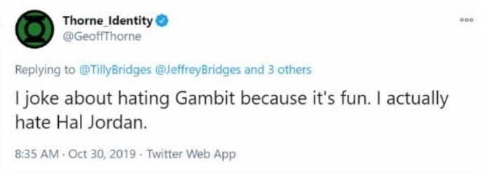 Geoff Thorne Green Lantern Hal Jordan tweet