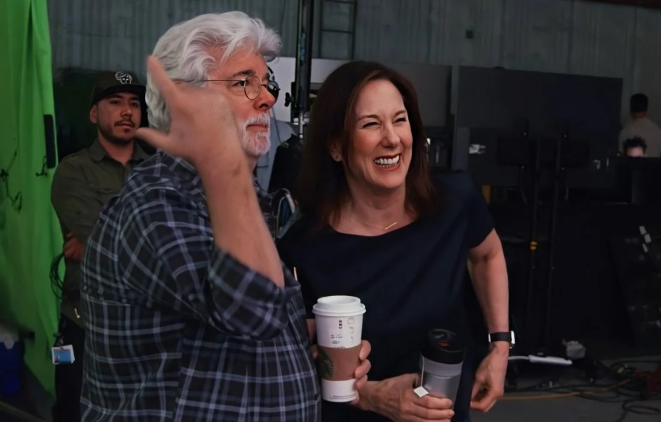 George Lucas and Kathleen Kennedy The Mandalorian Set Star Wars