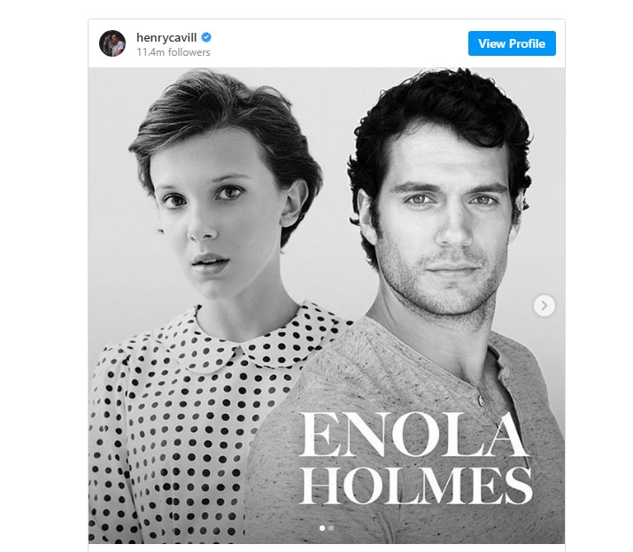 Enola Holmes Henry Cavill ve Millie Bobby Brown