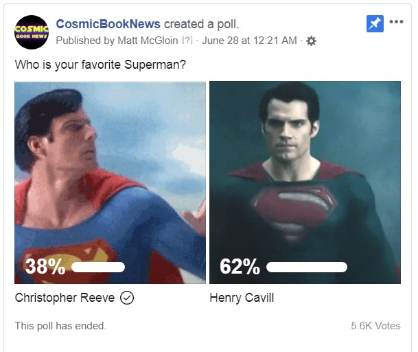 Henry Cavill Superman Tops Christopher Reeve Poll