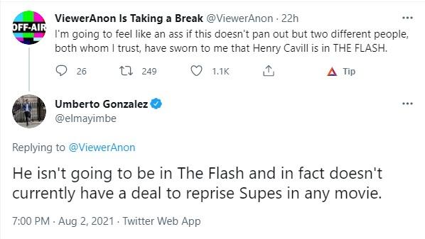 Henry Cavill Superman The Flash tweets