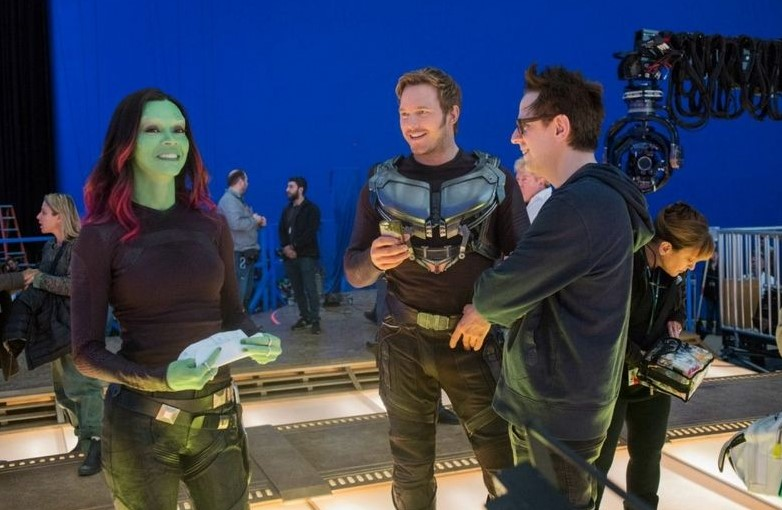 James Gunn with Chris Pratt and Zoe Salanda