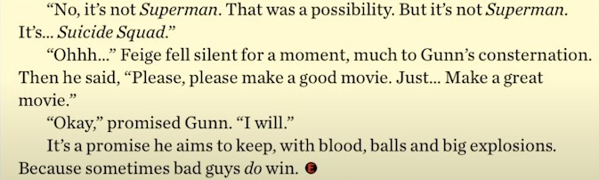 Kevin Feige James Gunn Superman Suicide Squad Guardians of the Galaxy