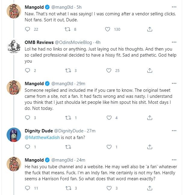 James Mangold f bombs fan tweets