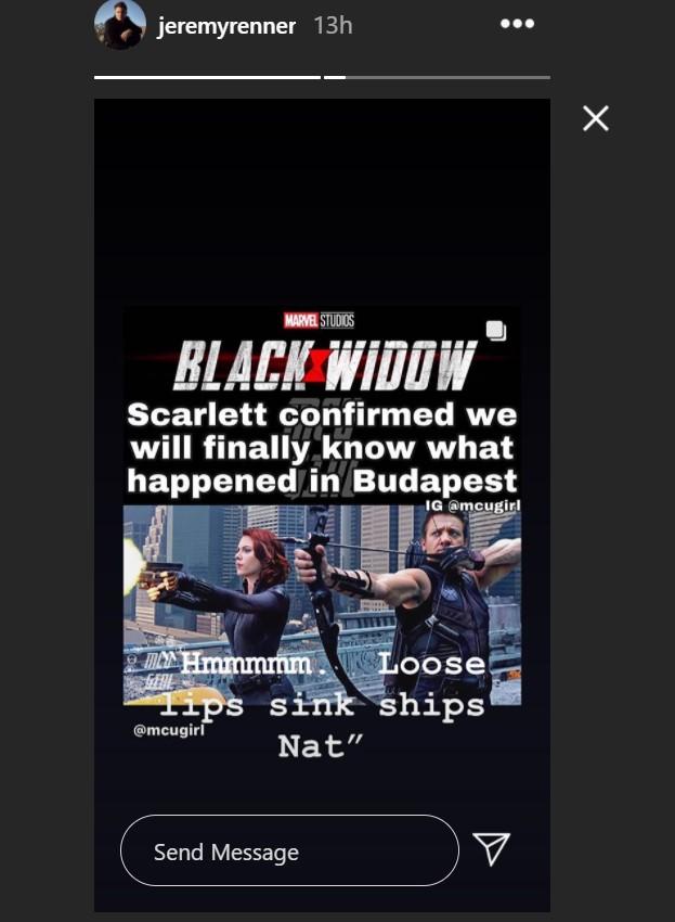 Jeremy Renner Hawkeye Black Widow Instagram story