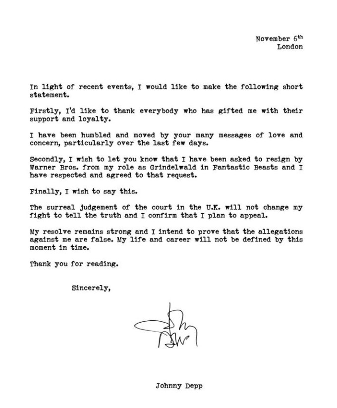 Johnny Depp Fantastic Beasts 3 statement