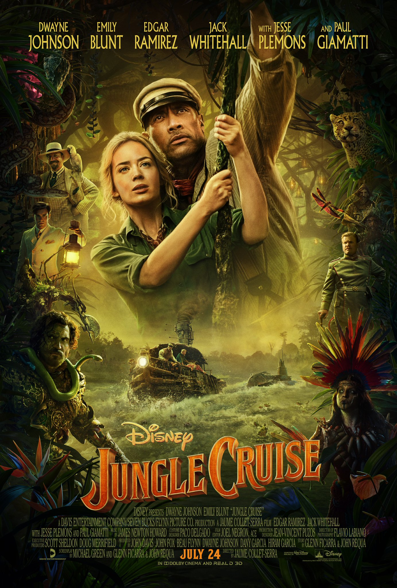 Dwayne Johnson and Emily Blunt Jungle Cruise poster
