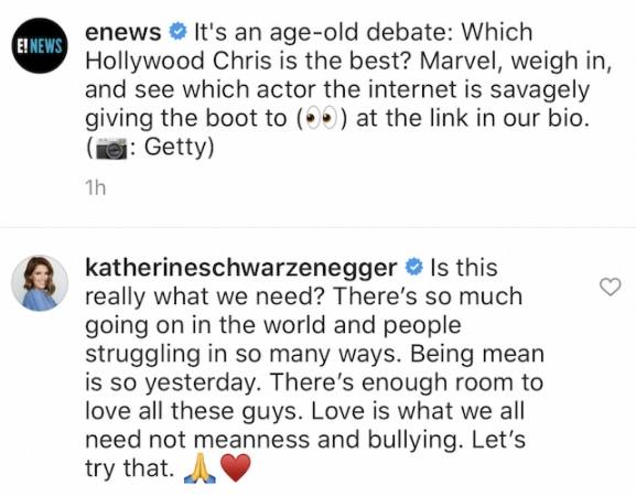 Katherine Schwarzenegger defends Chris Pratt
