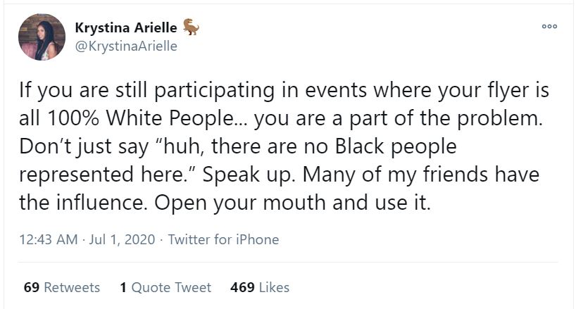 Krystina Arielle tweet