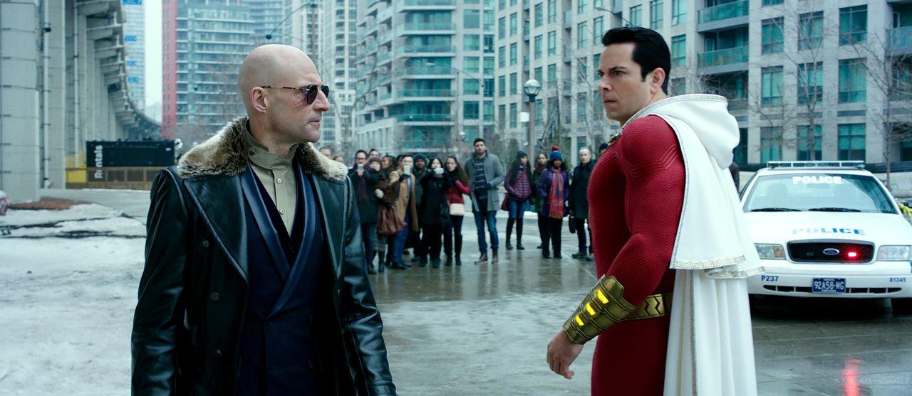 Zachary Levi Shazam confronts Mark Strong Selvig