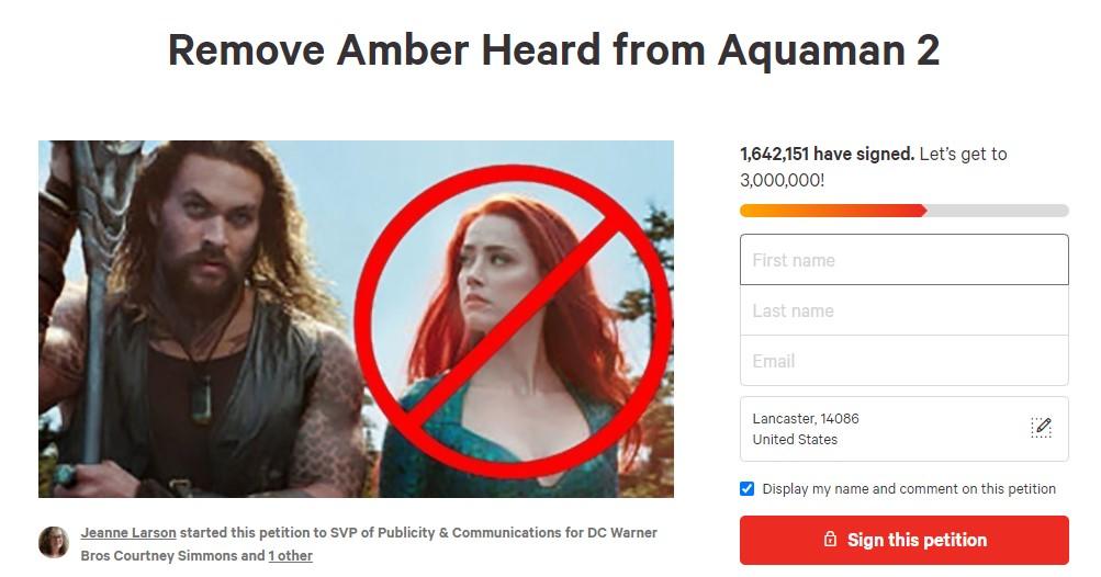 Amber Heard Aquaman 2 petition