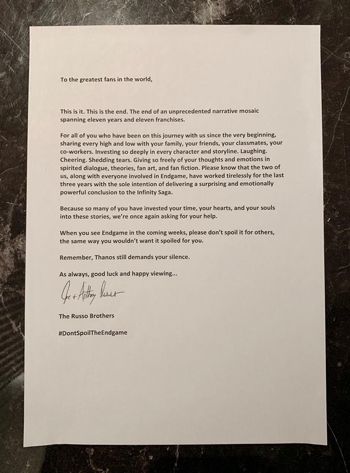 Avengers Endgame Russos Letter Spoilers