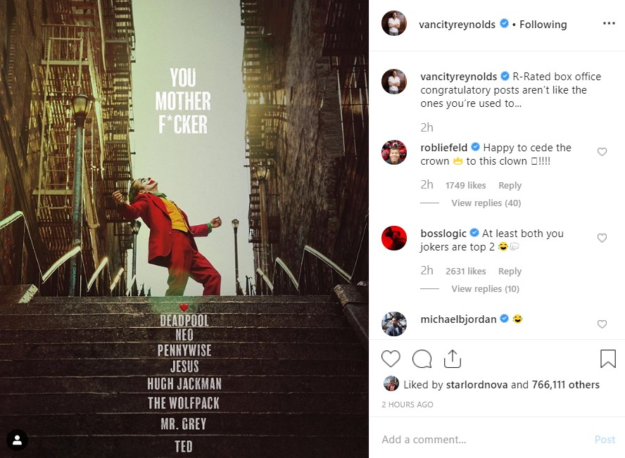 Ryan Reynolds Congratulates Joker