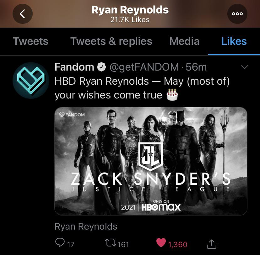 Ryan Reynolds Green Lantern Snyder Cut tweet
