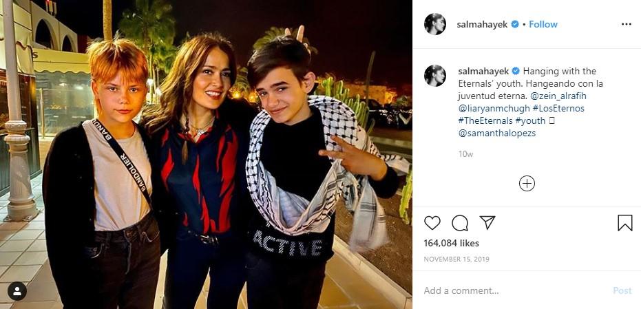 Salma Hayek Teases Eternals with Lia McHugh and Zein Al Rafih