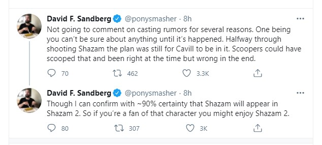 David F Sandberg Henry Cavill Superman Shazam 2