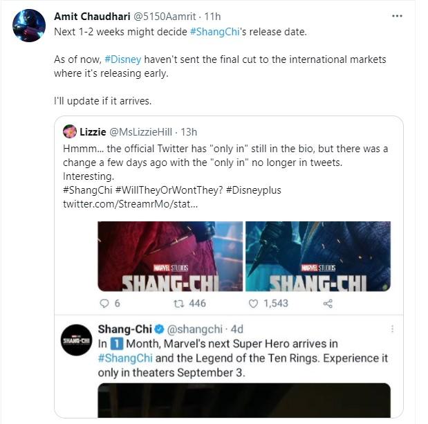 Shang-Chi delayed tweets