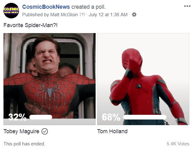 Spider-Man poll Tom Holland Tobey Mcguire