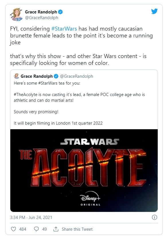 Star Wars The Acolyte POC female lead