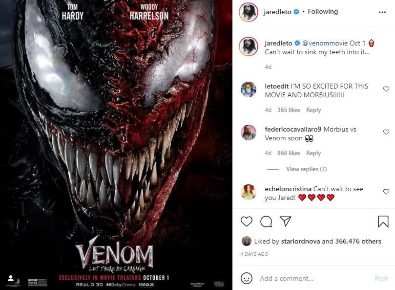 Venom 2 Jared Leto Morbius