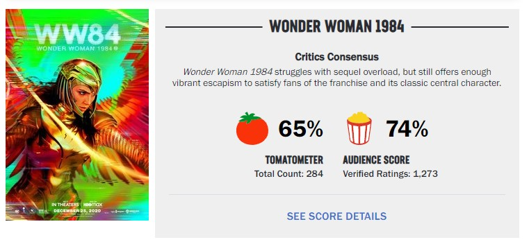 Wonder Woman 1984 Certified Fresh removed