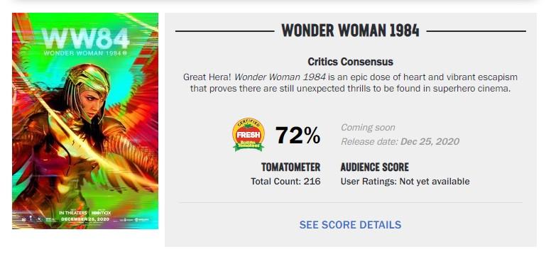 Wonder Woman 1984 Certified Fresh