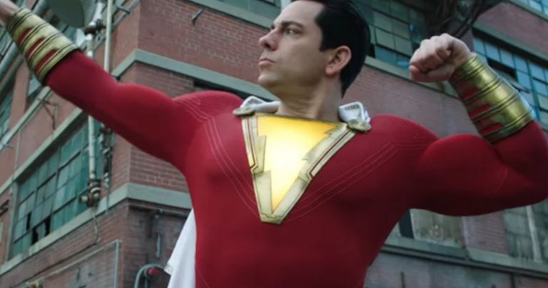 Zachary Levi Shazam padded muscle suit