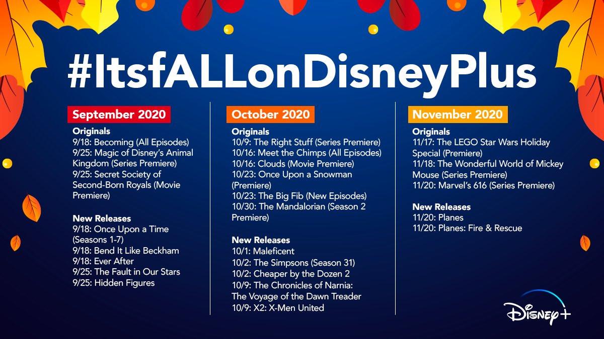 Disney Plus Fall schedule