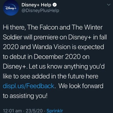 Disney Plus Falcon and Winter Soldier and WandaVision release