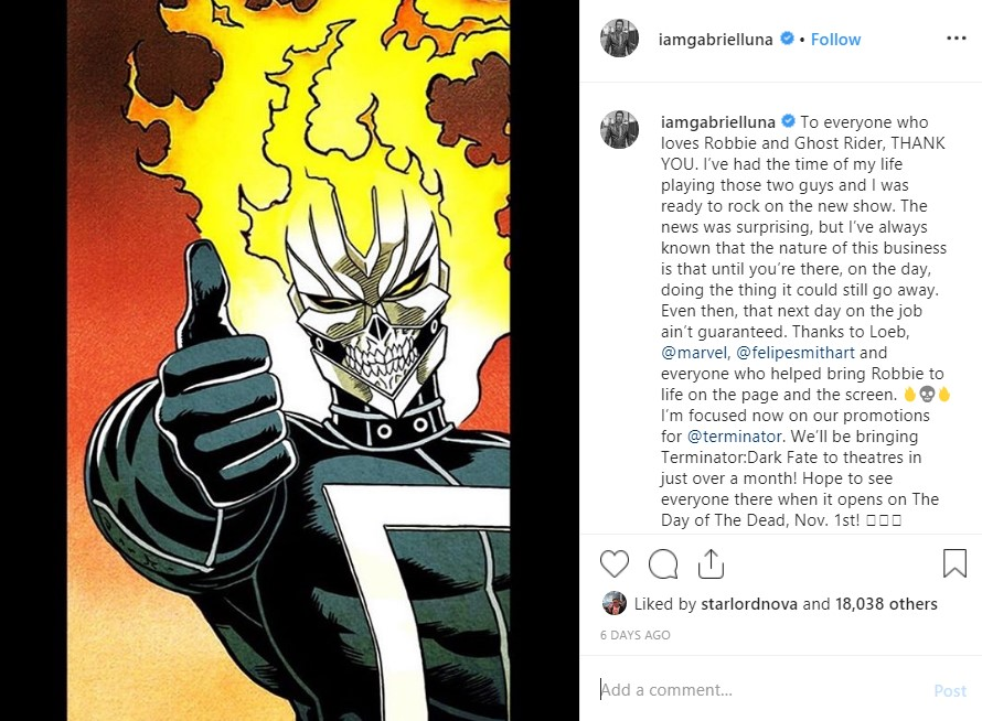 Gabriel Luna Ghost Rider HULU canceled
