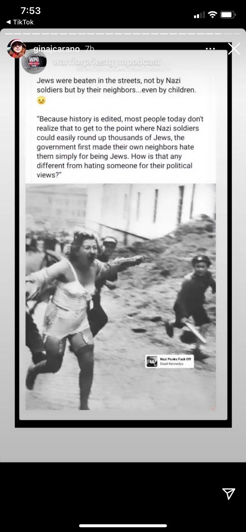 Gina Carano Nazis Jews Instagram post