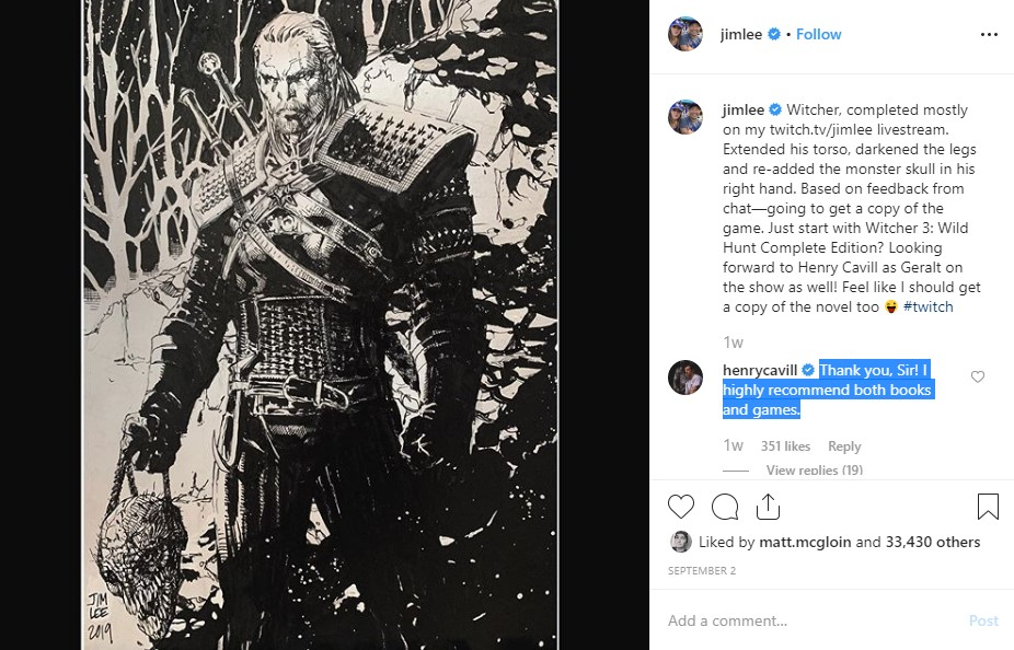 Henry Cavill The Witcher Jim Lee