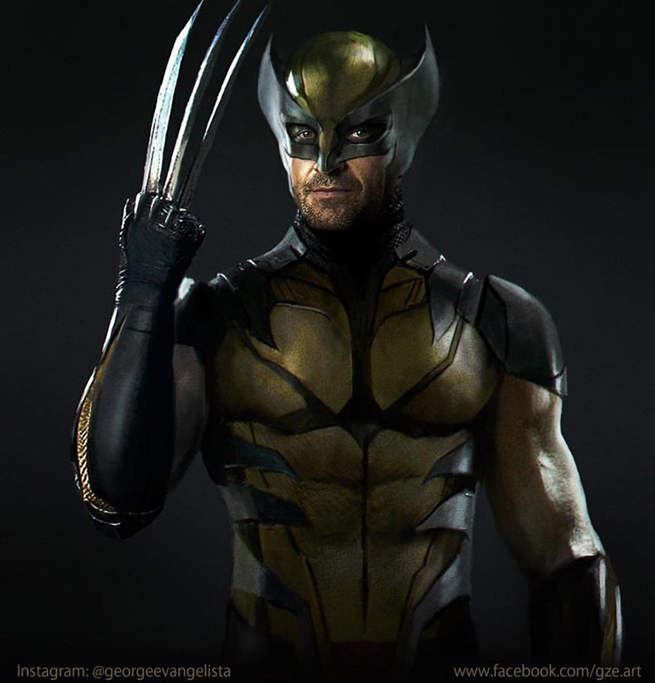 Hugh Jackman yellow wolverine suit