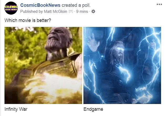 Infinity War Avengers Endgame poll