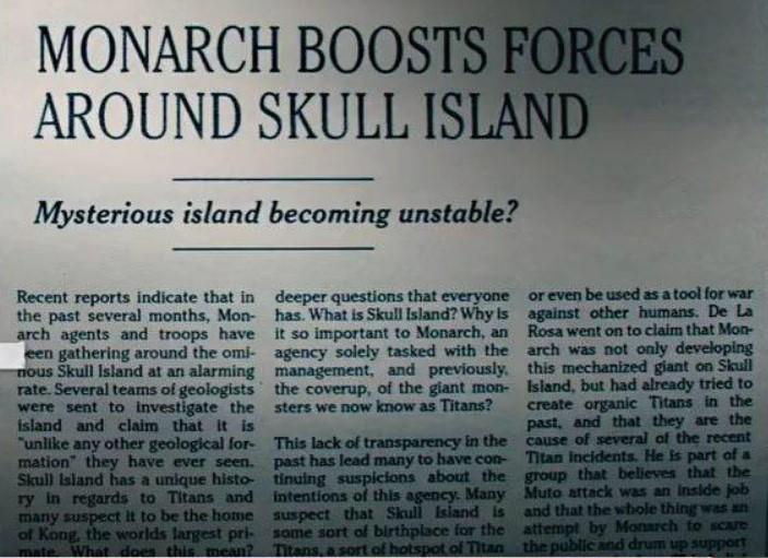 Monarch forces Godzilla vs Kong Skull Island