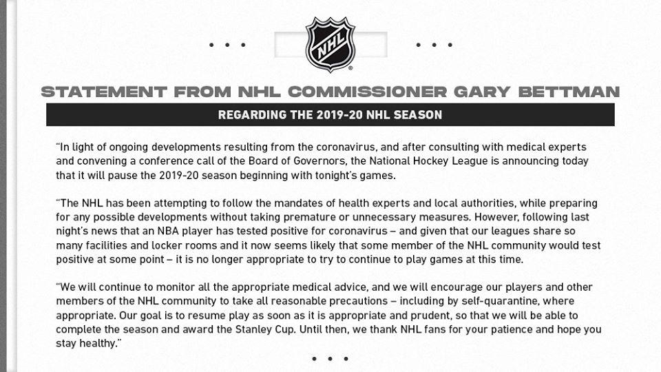 NHL Coronavirus