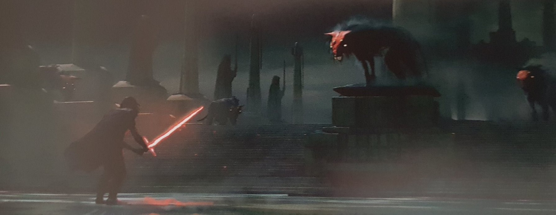 Star Wars Rise of The Skywalker concept art Kylo vs wolfs