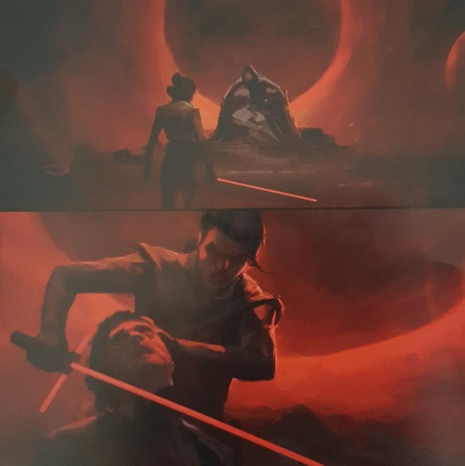 Star Wars Rise of The Skywalker concept art Rey vs Kylo Ren