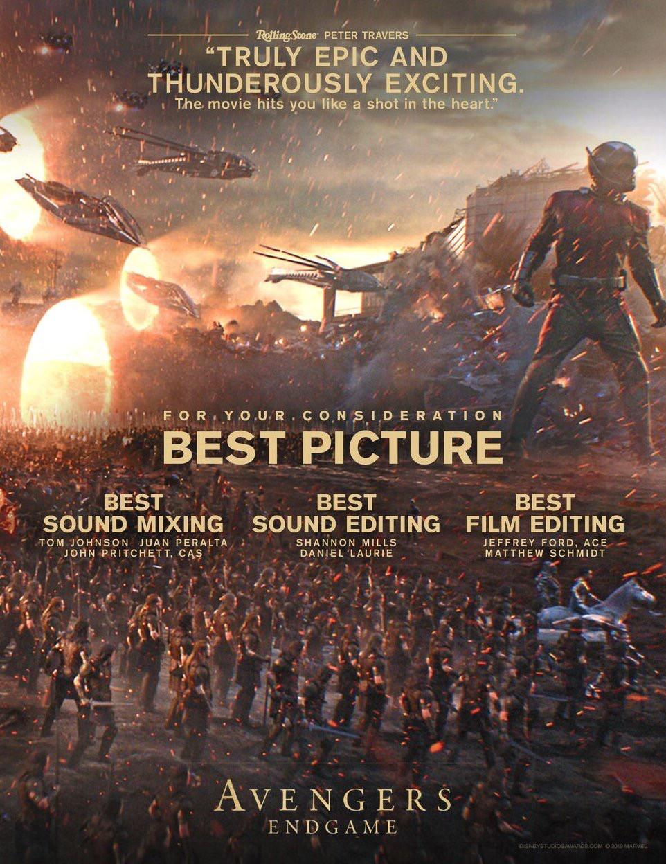 Avengers Endgame Oscars