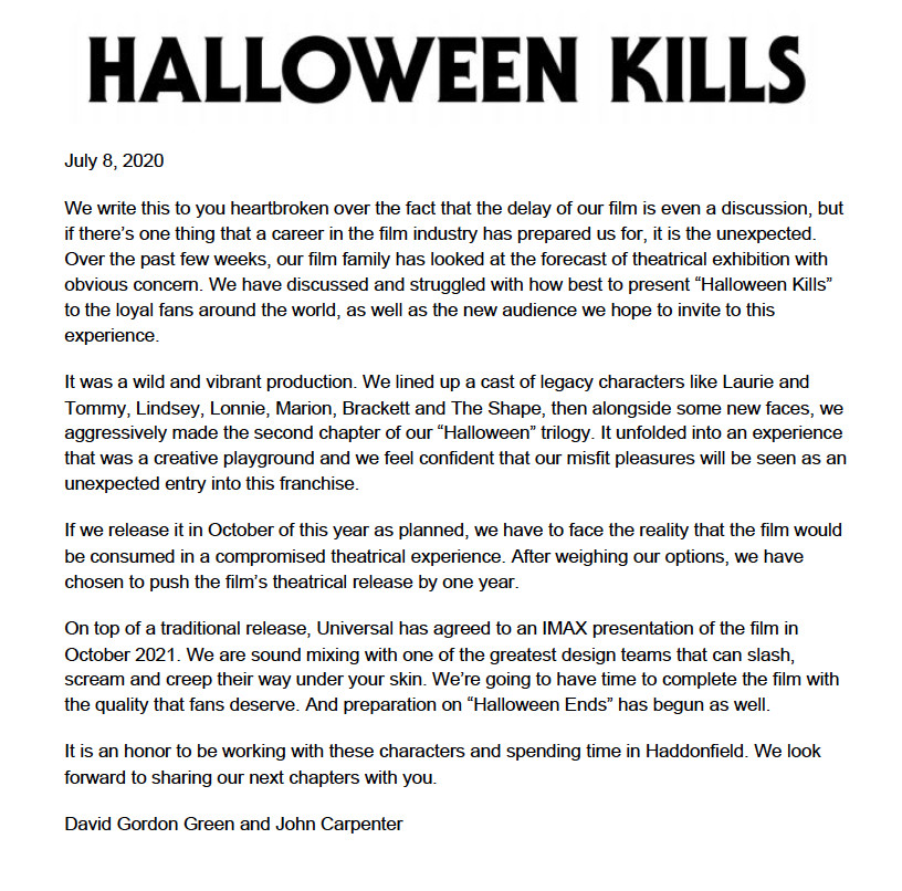 Halloween Kills release date delayed a year