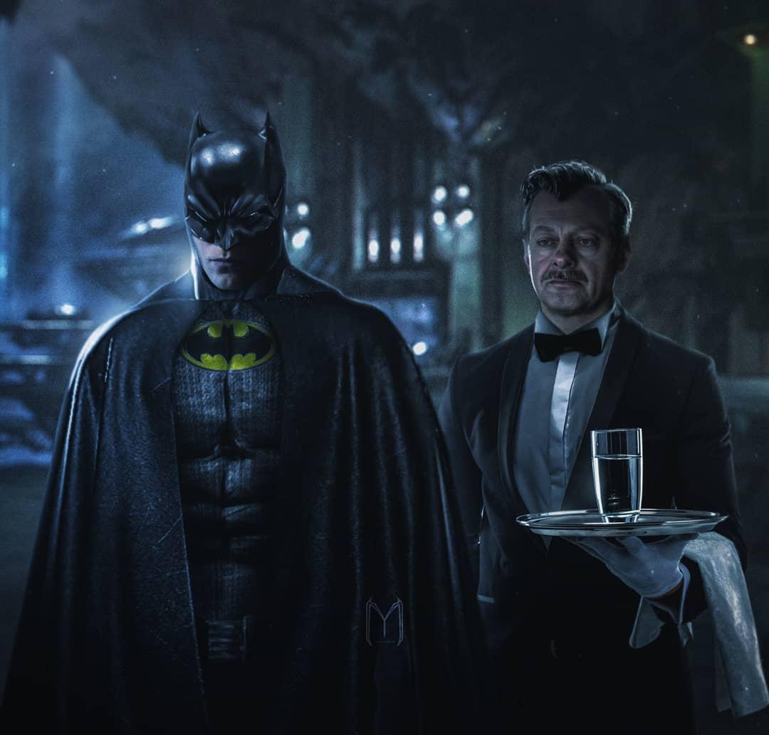 Andy Serkis Alfred fan art Batman Robert Pattinson